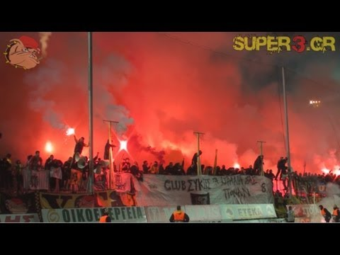 ARIS vs paok 2-2 || EXTREME old style support by ARIS' fans (2013)