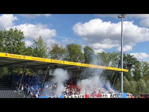Rostock Fans in Großaspach (inkl. Pyro)