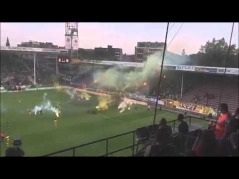 """לה פמיליה בית""""ר - צעדה לאצטדיון + אבוקות מול שרלרואה בבלגיה, Charleroi - Beitar Jerusalem Pyroshow"""