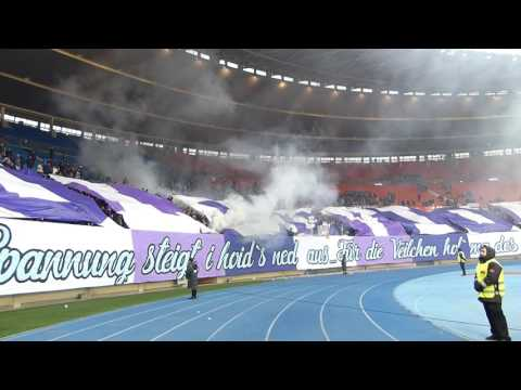 Austria Wien - Rapid (1:1), 12.02.17, Choreo & Pyro & Support